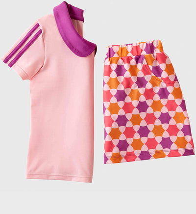 Girls Junior Golf Short Sleeve Light Pink Performance Polo Shirt and Purple Melon Orange Pattern Performance Skort