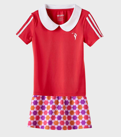 Girls Junior Golf Short Sleeve Melon Performance Polo Shirt and Purple Melon Orange Pattern Performance Skort
