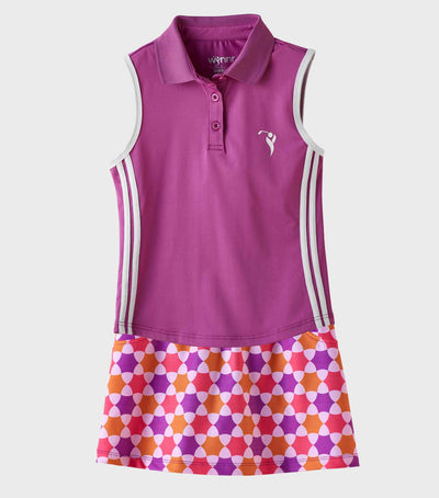 Girls Junior Golf Sleeveless Purple Performance Polo Shirt and Purple Melon Orange Pattern Performance Skort
