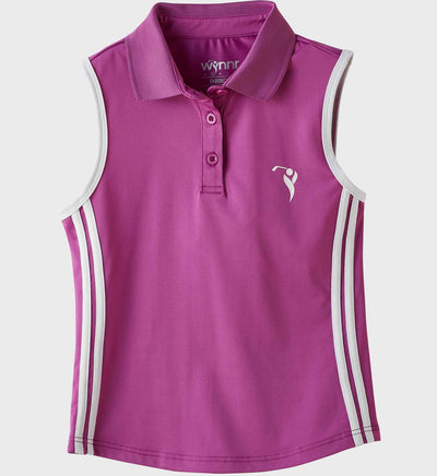 Girls Junior Golf Sleeveless Purple Performance Polo Shirt