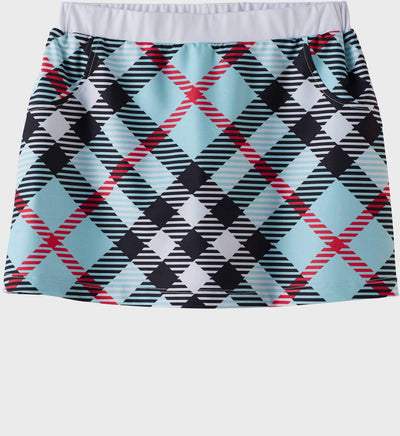 Girls Junior Golf Light Blue Check Pattern Performance Skort