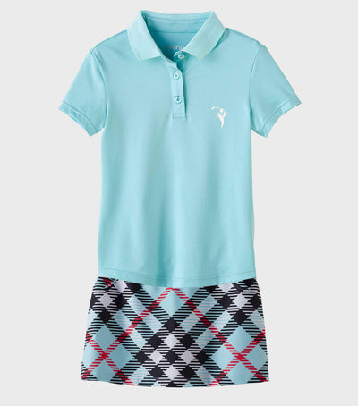 Girls Junior Golf Short Sleeve Light Blue Performance Polo Shirt and Purple Light Blue Check Pattern Skort