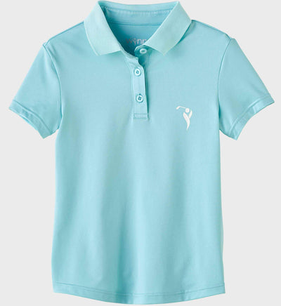 Girls Junior Golf Short Sleeve Light Blue Performance Polo Shirt