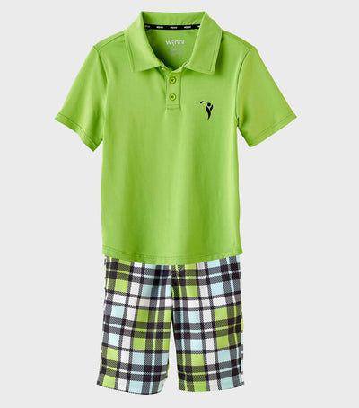 Boys Junior Golf Short Sleeve Bright Green Performance Polo Shirt and Light Blue Check Pattern Short