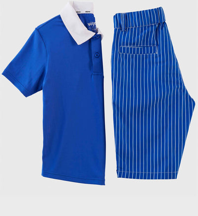 Boys Junior Golf Short Sleeve Bright Blue Performance Polo Shirt and Bright Blue Stripe Short