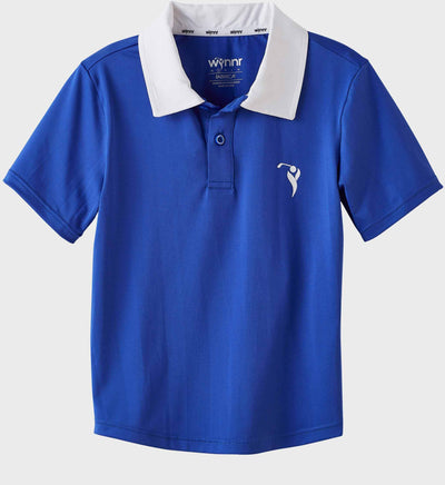 Boys Junior Golf Short Sleeve Bright Blue Performance Polo Shirt