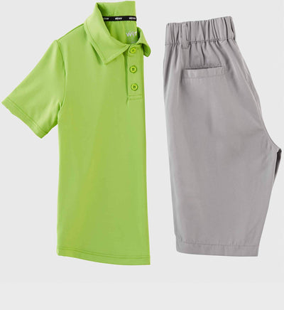 Boys Junior Golf Short Sleeve Bright Green Performance Polo Shirt and Light Grey Short