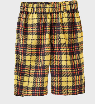 Boys Junior Golf Dark Yellow Check Pattern Performance Short