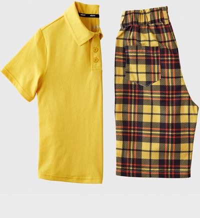 Boys Junior Golf Short Sleeve Dark Yellow Performance Polo Shirt and Dark Yellow Check Pattern Short