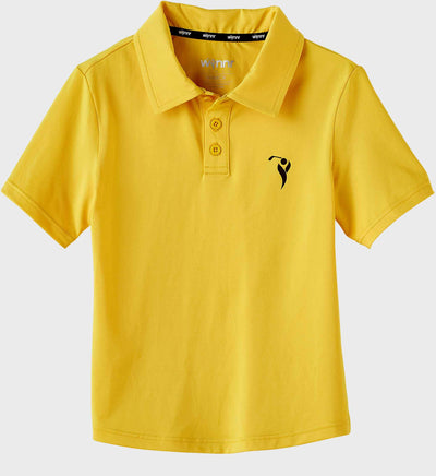 Boys Junior Golf Short Sleeve Dark Yellow Performance Polo Shirt