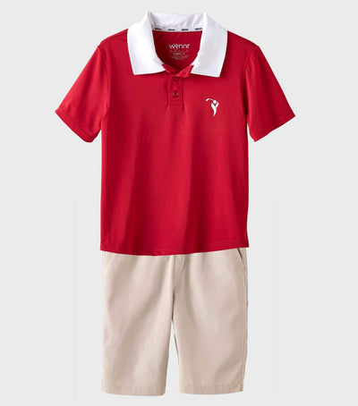 Boys Junior Golf Short Sleeve Dark Red Performance Polo Shirt and Sand Short