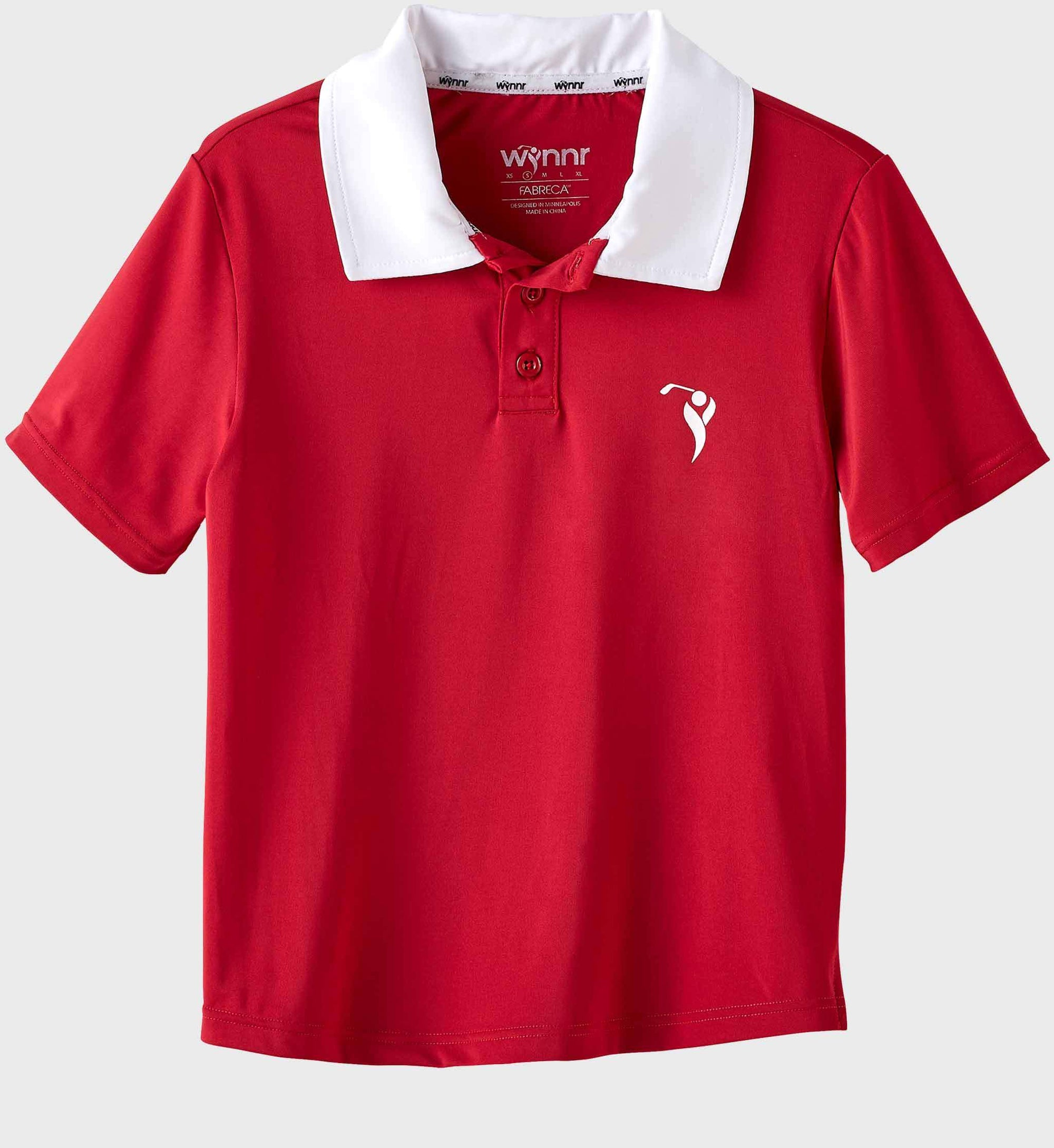 4297c565 Boys Junior Golf Short Sleeve Dark Red Performance Polo - Wynnr