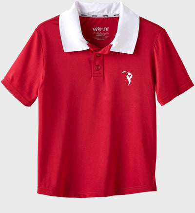 Boys Junior Golf Short Sleeve Dark Red Performance Polo Shirt