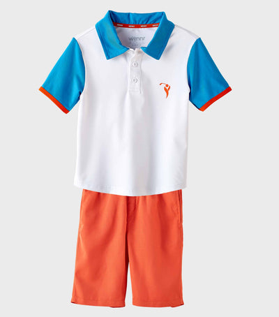Boys Junior Golf Short Sleeve White Blue Performance Polo Shirt and Orange Short