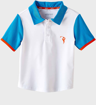 Boys Junior Golf Short Sleeve White Blue Performance Polo Shirt