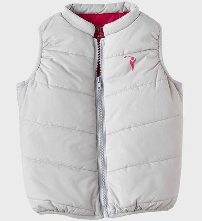 Girls Junior Golf Grey Rose Lining Performance Puffer Vest