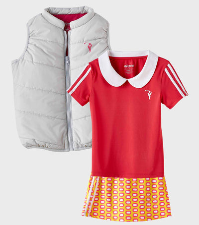 Girls Junior Golf Grey Rose Lining Performance Puffer Vest and Short Sleeve Melon Performance Polo Shirt and Melon Yellow Pattern Performance Skort