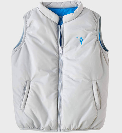 Boys Junior Golf Grey Blue Lining Performance Puffer Vest
