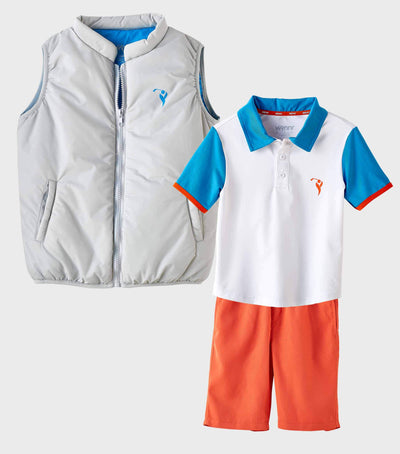 Boys Junior Golf Grey Blue Lining Performance Puffer Vest and White Blue Polo Shirt and Orange Short