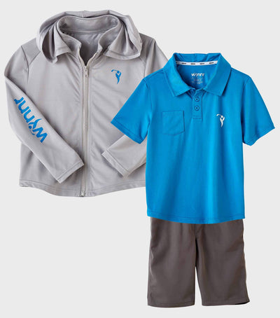 Boys Junior Golf Grey Performance Hoodie and Blue Polo Shirt and Grey Short