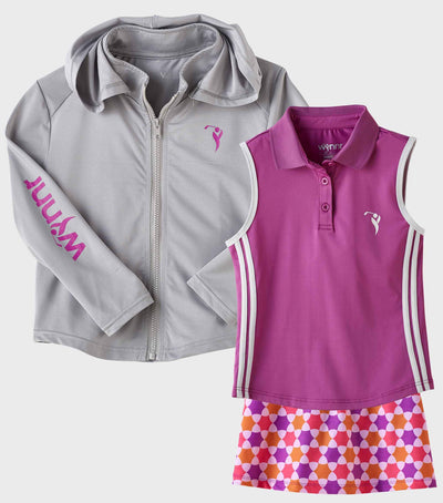 Girls Junior Golf Grey Performance Hoodie and Sleeveless Purple Performance Polo Shirt and Purple Melon Orange Pattern Performance Skort