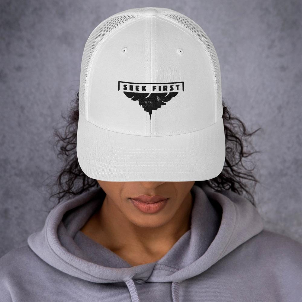 White Upside Down Kingdom Trucker Cap