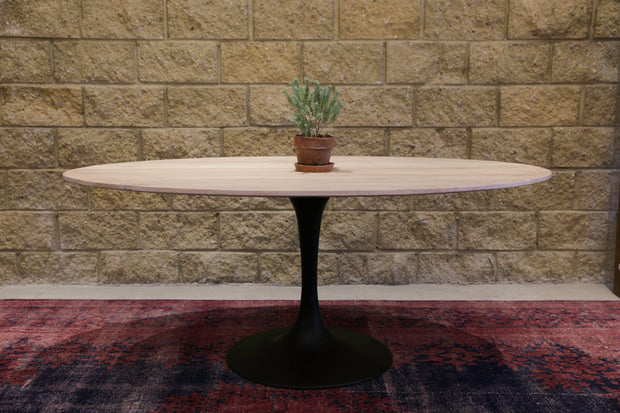 Aspen Oval Dining Table White Wash With Metal Base