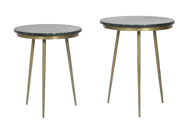 Function Accent Table - Green Marble, Set of 2