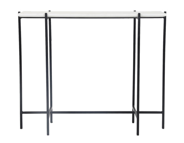 Function Console Table - White Marble/Black Base