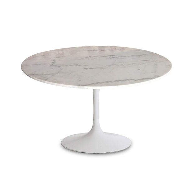 Valencia Round Dining Table - White Marble/ Sleek Matt White Base