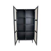 Cane Bookcase With Full Doors