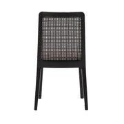 Cane Dining Chair - Oyster Linen/Black Legs