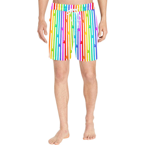 Pride Mouse Stripes Swim Trunks - Dapper Digs Trading Co