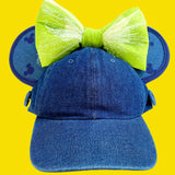 Denim Mick Ear Saver Ear Hat (with or with out Bow Attachment) - Dapper Digs Trading Co