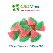 Load image into Gallery viewer, CBD Move Sour Watermelon Gummies CBD Isolate 100mg & 300mg - CBD Canada