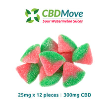 Load image into Gallery viewer, CBDMove Sour Watermelon CBD Isolate Gummies 100mg & 300mg - CBD Canada