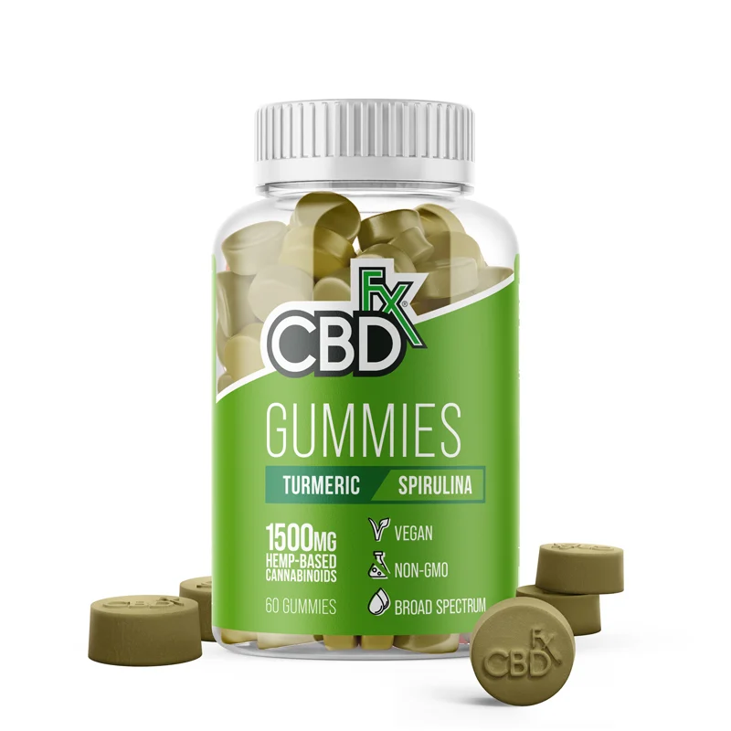 CBDfx Turmeric & Spirulina gummies 1500mg (60 count bottle) - CBD Canada