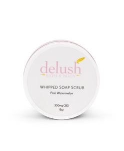 Delush CBD Whipped Soap Scrub 'Pink Watermelon' 300mg - CBD Canada