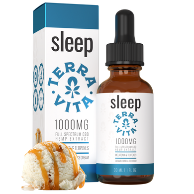 Terra Vita Full Spectrum CBD Tincture 'Sleep' Caramel Vanilla Ice Cream 500mg + 1000mg + 2000mg - CBD Canada