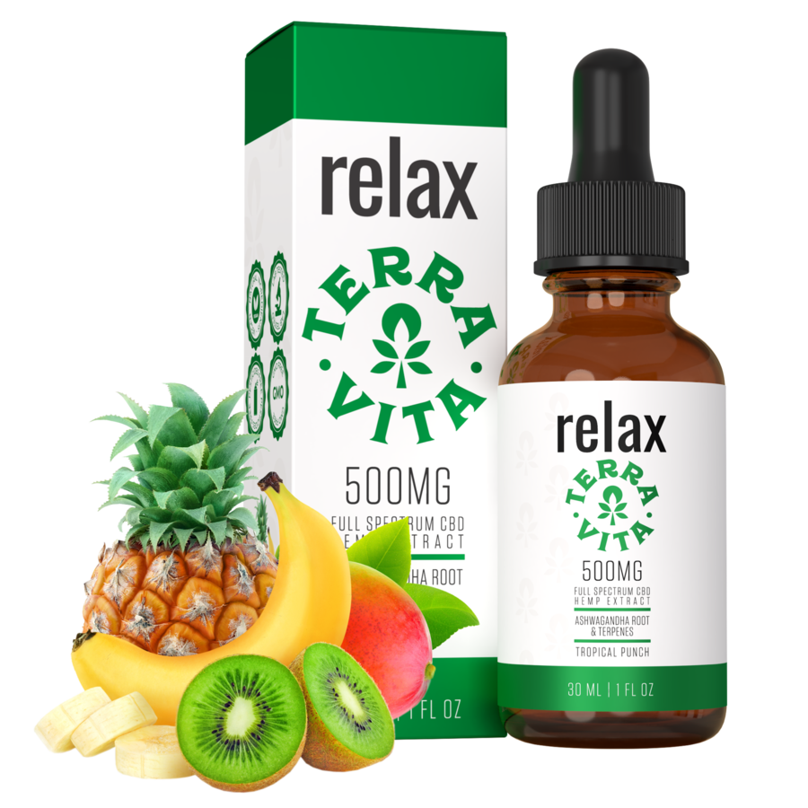 Terra Vita Full Spectrum CBD Tincture 'Relax' Tropical Punch 500mg + 1000mg + 2000mg - CBD Canada