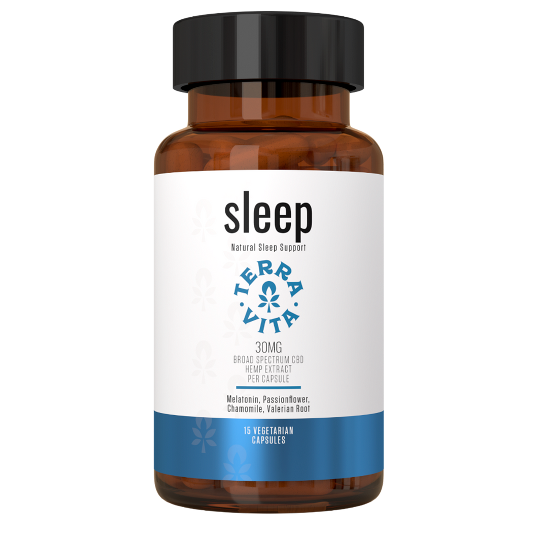 Terra Vita Broad Spectrum CBD Capsules 'Sleep' 450mg (15 count bottle) - CBD Canada