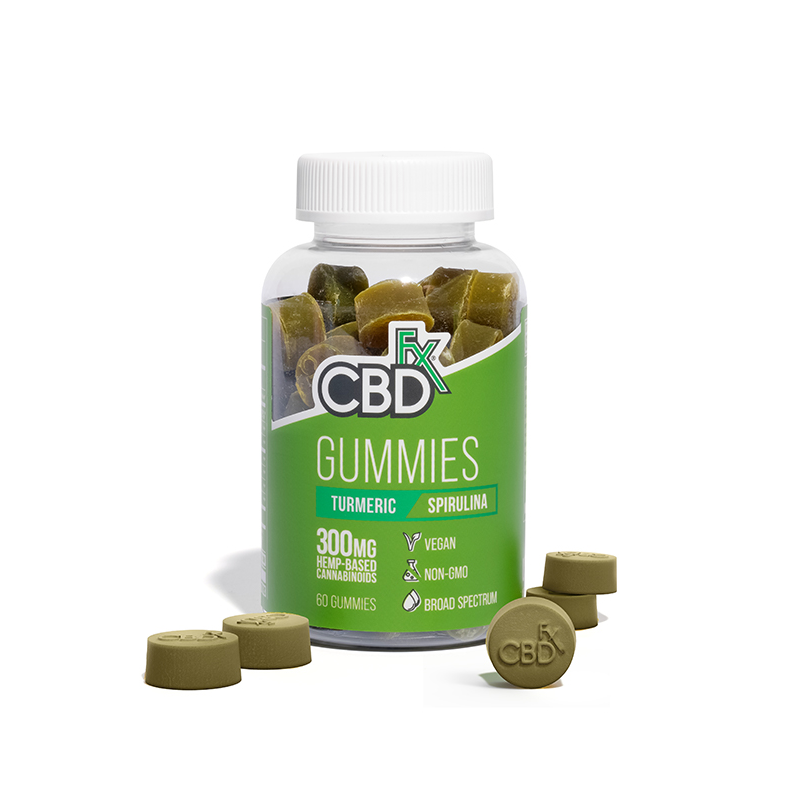 CBDfx Turmeric & Spirulina gummies 300mg (60 count bottle) - CBD Canada