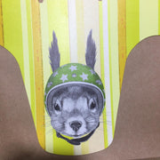 custom squirrel with green helmet and yellow stripes background mudguard
