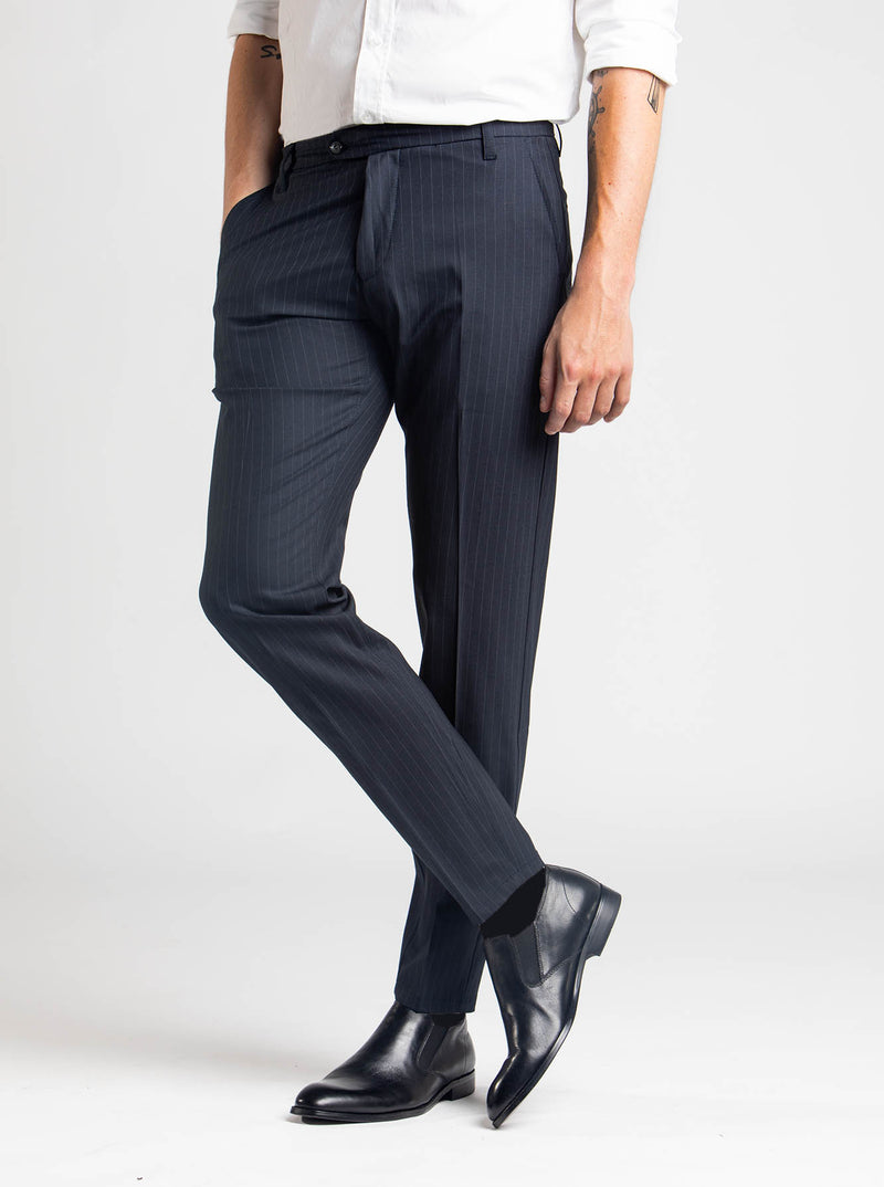 SNT Pico Pants Navy Pinstriped