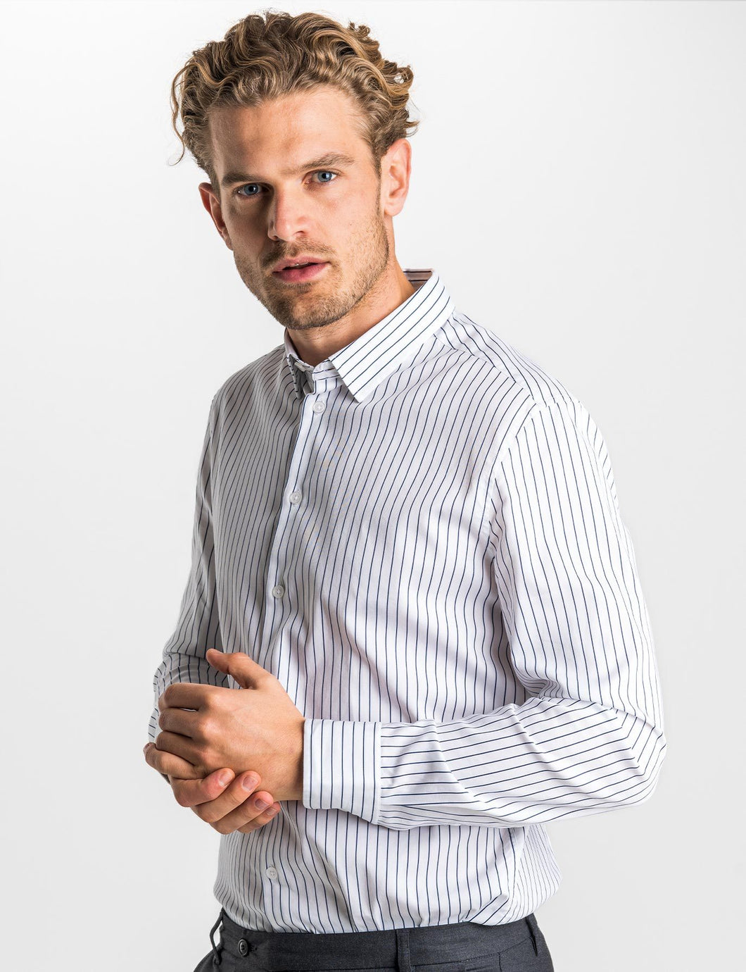 SNT Tencel Shirt Midnight Stripes