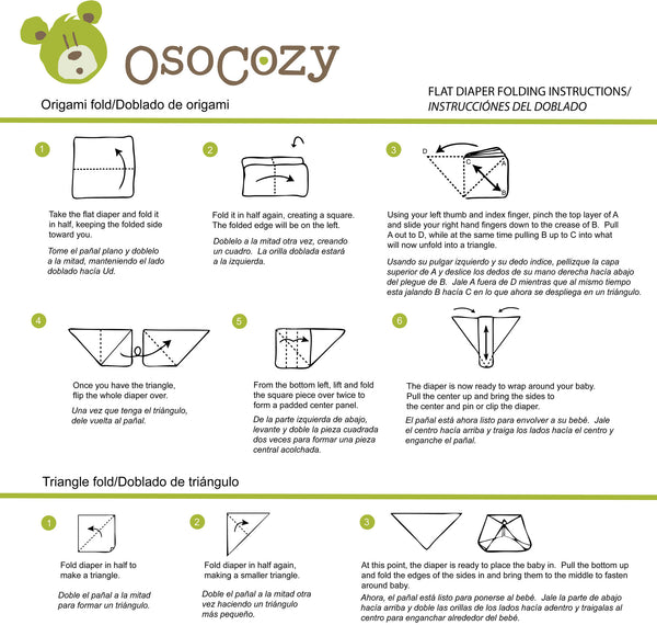 Flat Diaper Folding Instructions