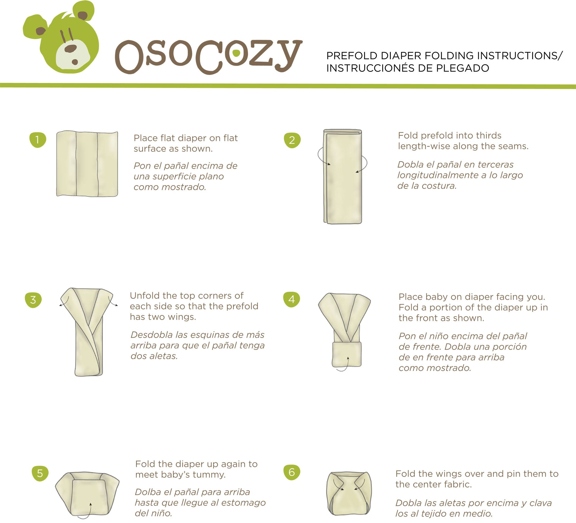 Prefold cloth diaper folding instructions.