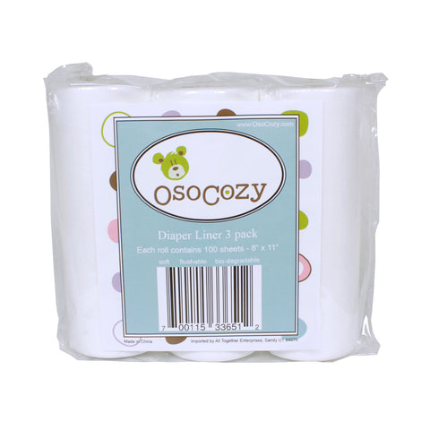 OsoCozy Flushable Diaper Liners - 3 Pack