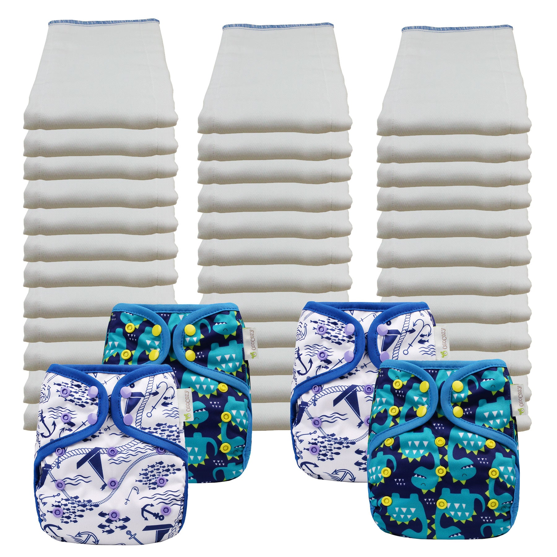 Bleached Economy Prefold Diaper Packages with OsoCozy One Sized Covers