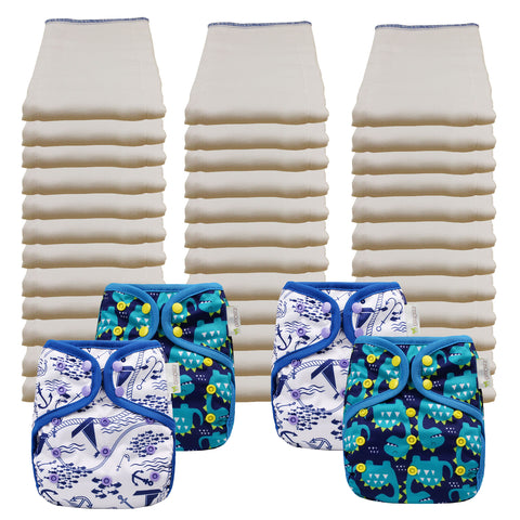 Unbleached Economy Prefold Diaper Packages with OsoCozy One Sized Covers